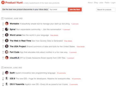 Product Hunt MVP Example