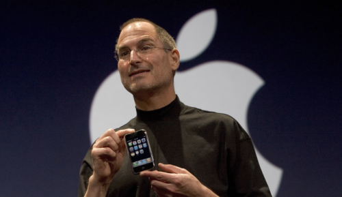 Apple Founder Steve Jobs with the First Ever iPhone