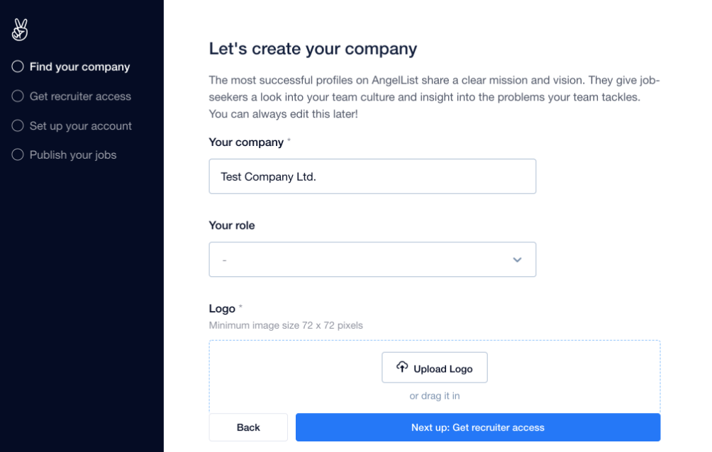 AngelList's company creation page to hire developers