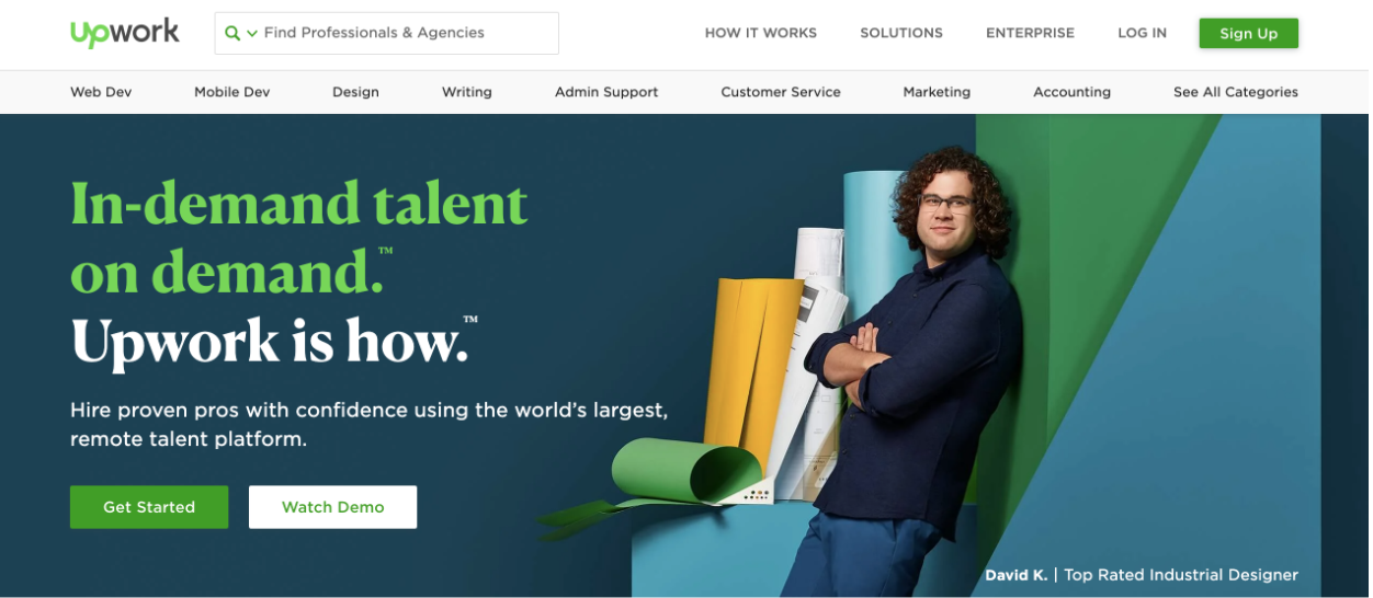 Upwork's landing page to hire freelancers