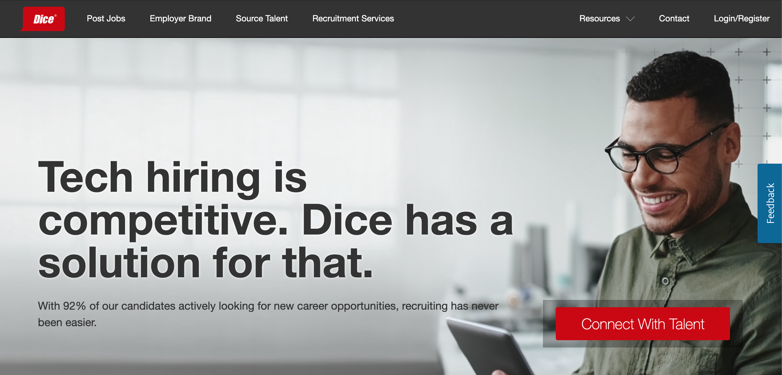 Dice hire developers page