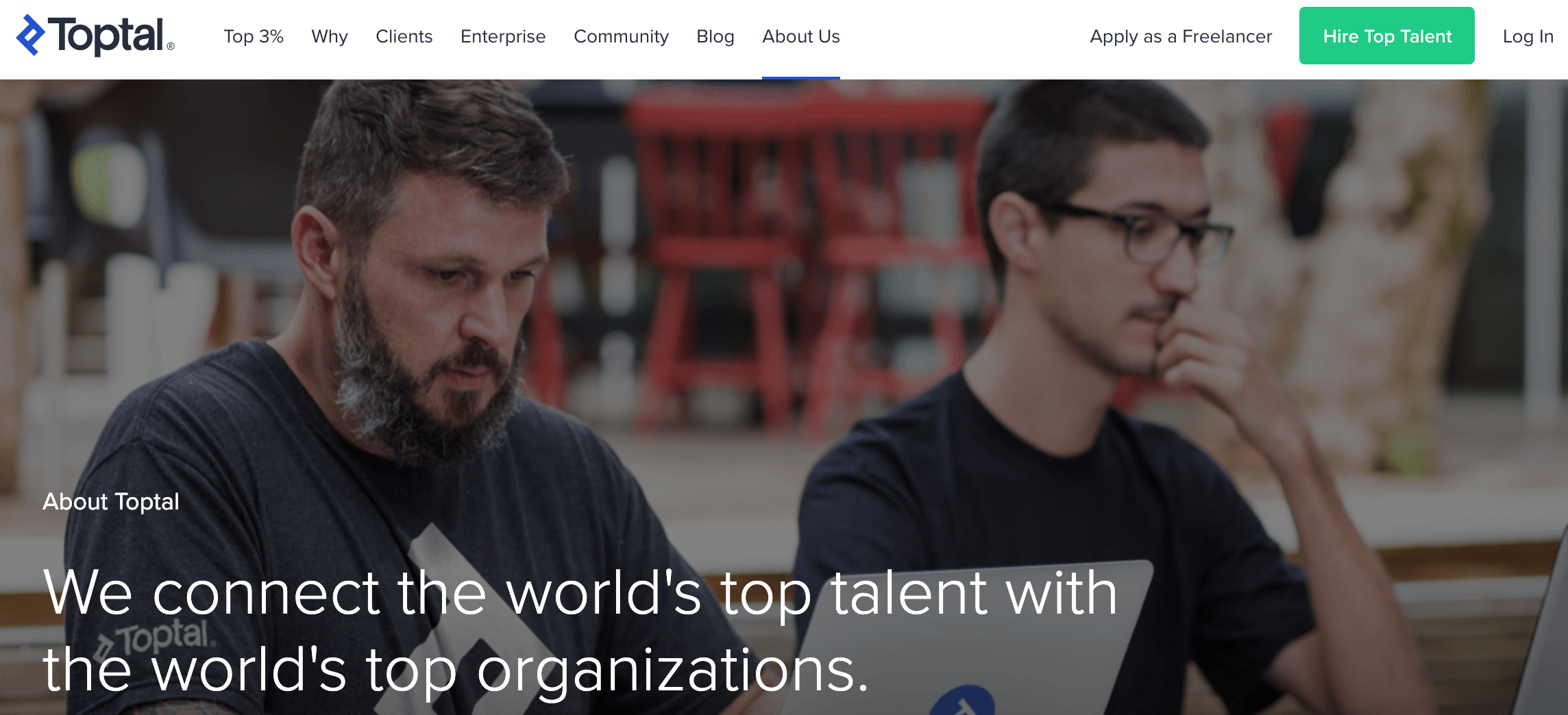 Hire Developers on Toptal Homepage