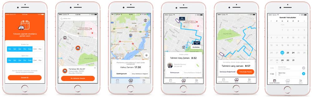 UI Examples of Volt Lines –including map and calendar screens